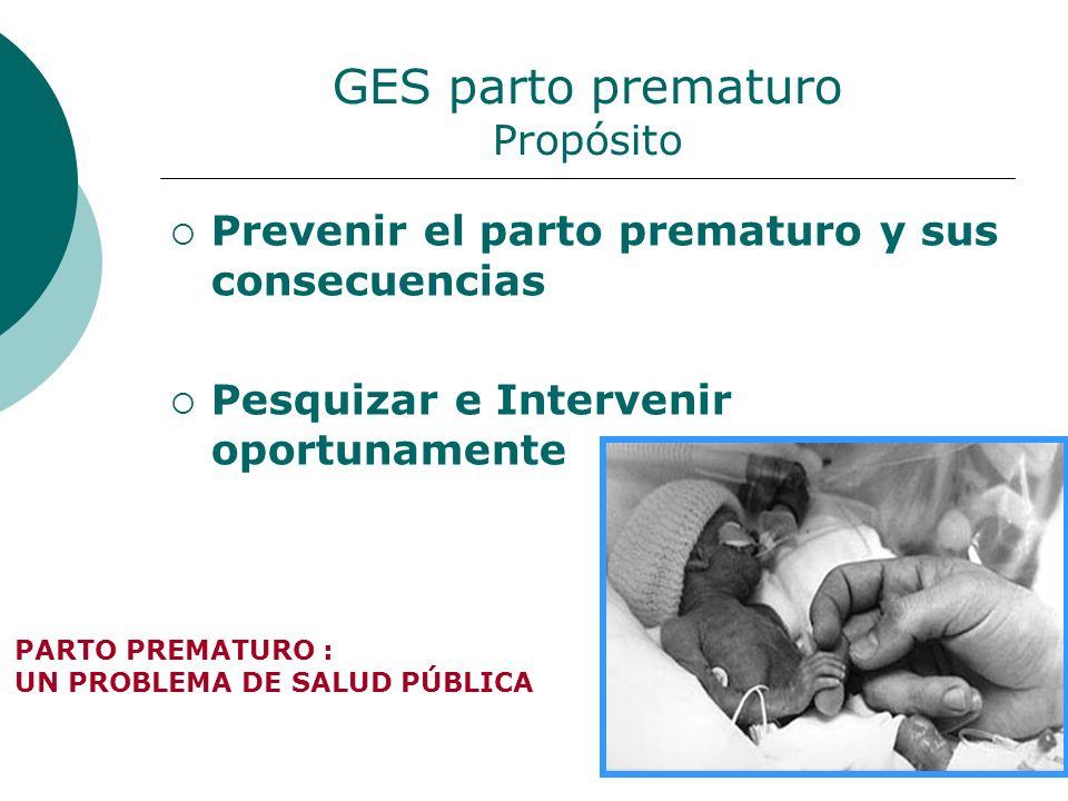 GES parto prematuro Propósito Prevenir el parto prematuro y sus consecuencias Pesquizar e Intervenir oportunamente PARTO PREMATURO : UN PROBLEMA DE SA