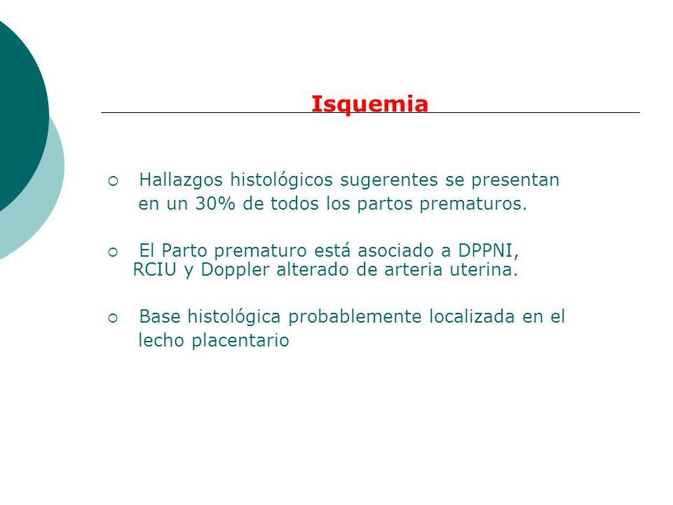 Isquemia Hallazgos histológicos sugerentes se presentan en un 30% de todos los partos prematuros. El Parto prematuro está asociado a DPPNI, RCIU y Dop