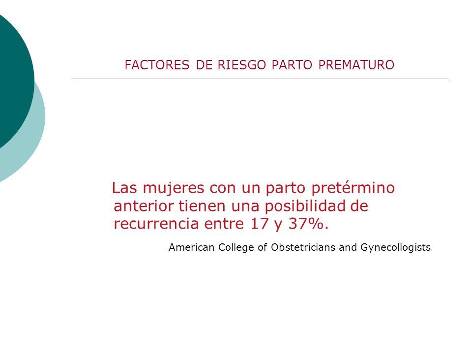 FACTORES DE RIESGO PARTO PREMATURO Las mujeres con un parto pretérmino anterior tienen una posibilidad de recurrencia entre 17 y 37%. American College