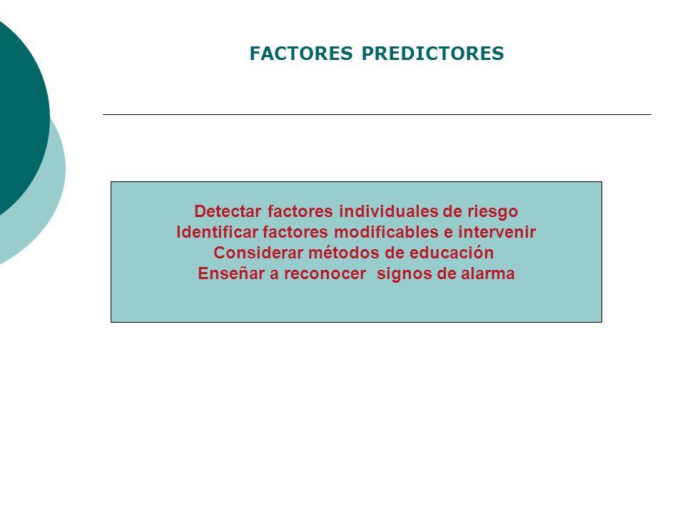 FACTORES PREDICTORES Detectar factores individuales de riesgo Identificar factores modificables e intervenir Considerar métodos de educación Enseñar a