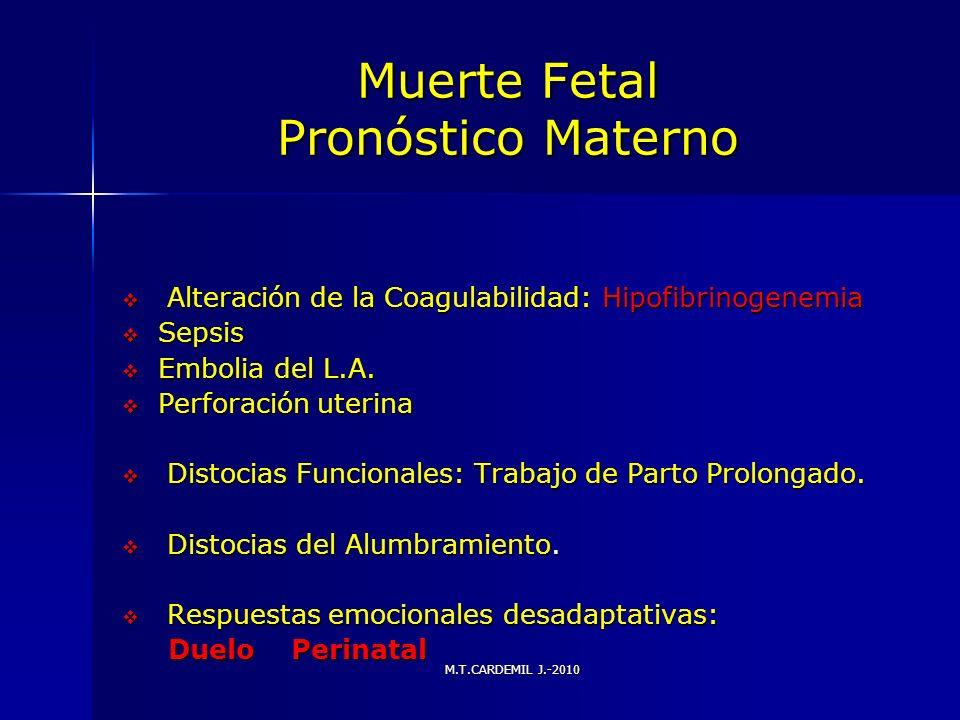 M.T.CARDEMIL J.-2010 Muerte Fetal Pronóstico Materno Alteración de la Coagulabilidad: Hipofibrinogenemia Alteración de la Coagulabilidad: Hipofibrinog