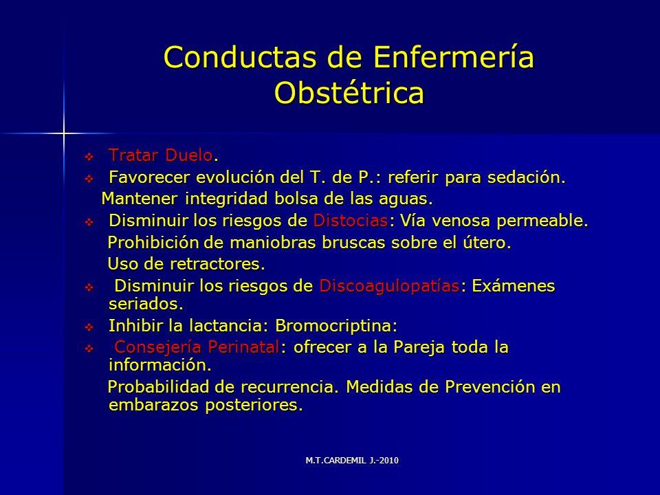 M.T.CARDEMIL J.-2010 Conductas de Enfermería Obstétrica Tratar Duelo. Tratar Duelo. Favorecer evolución del T. de P.: referir para sedación. Favorecer