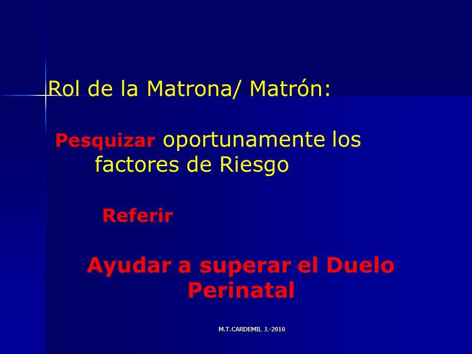 M.T.CARDEMIL J.-2010 Rol de la Matrona/ Matrón: Pesquizar oportunamente los factores de Riesgo Referir Ayudar a superar el Duelo Perinatal