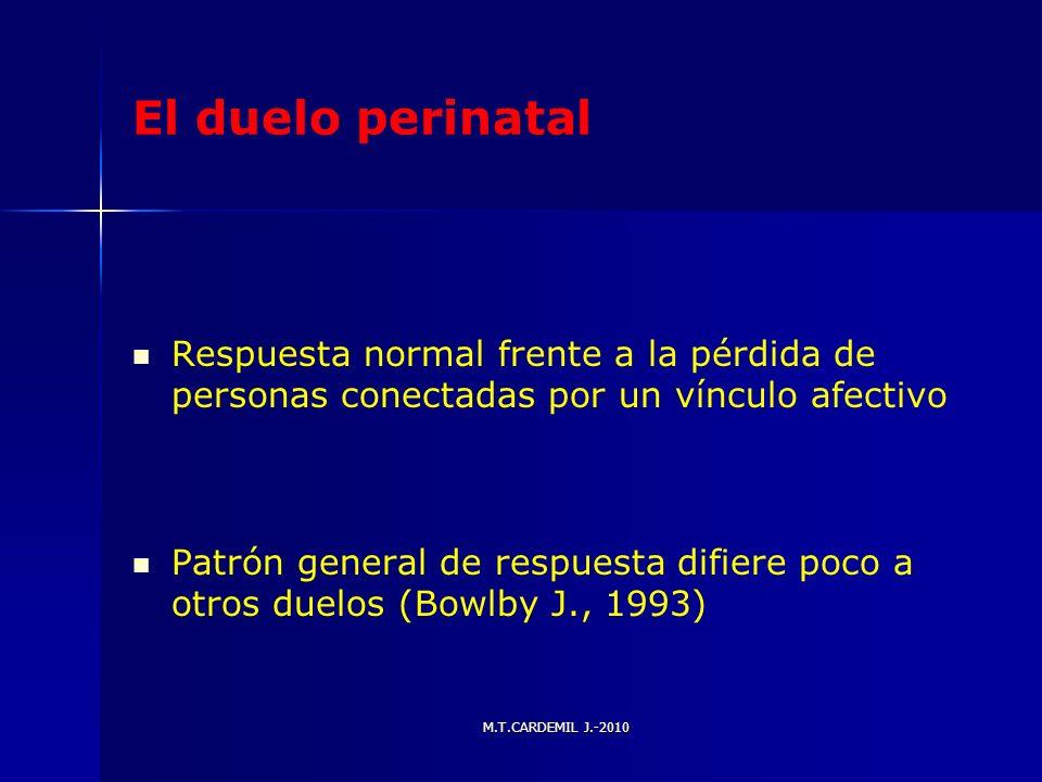 M.T.CARDEMIL J.-2010 El duelo perinatal Respuesta normal frente a la pérdida de personas conectadas por un vínculo afectivo Patrón general de respuest