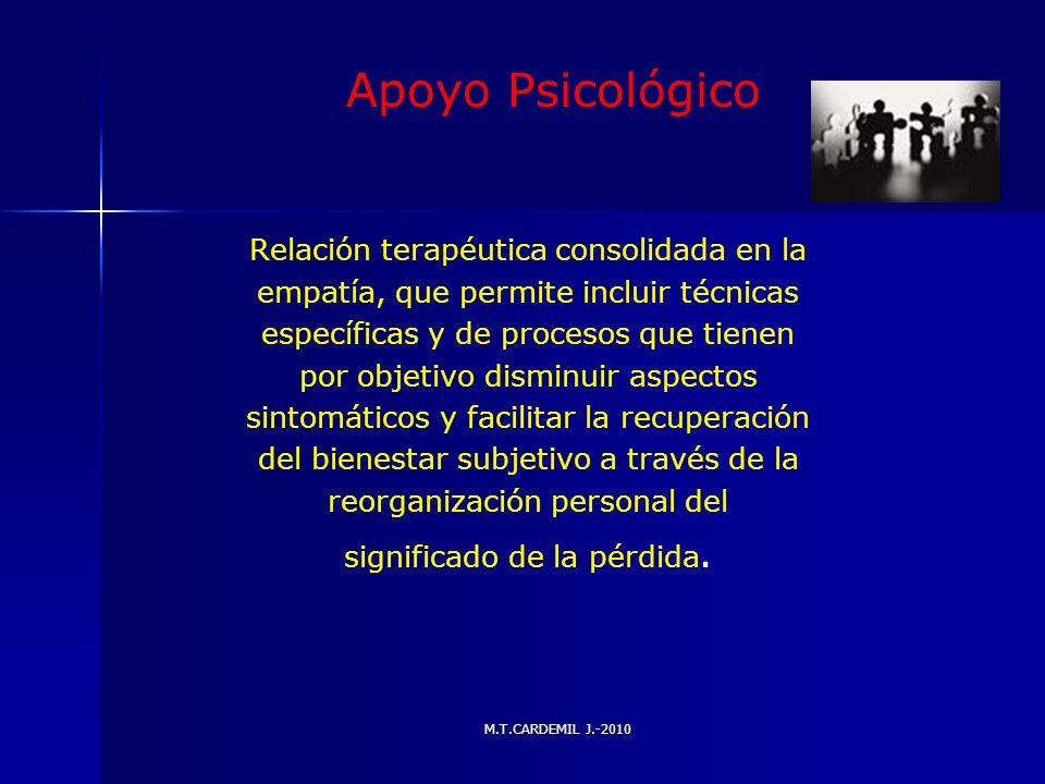 M.T.CARDEMIL J.-2010 Apoyo Psicológico Relación terapéutica consolidada en la empatía, que permite incluir técnicas específicas y de procesos que tien