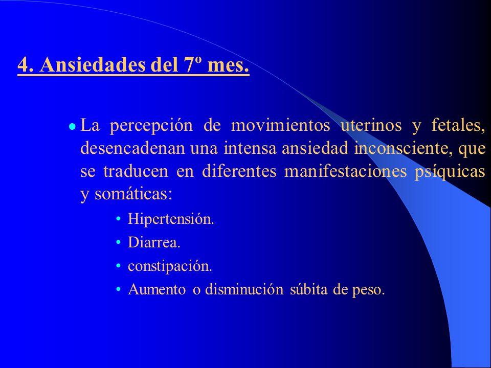 4. Ansiedades del 7º mes. La percepción de movimientos uterinos y fetales, desencadenan una intensa ansiedad inconsciente, que se traducen en diferent