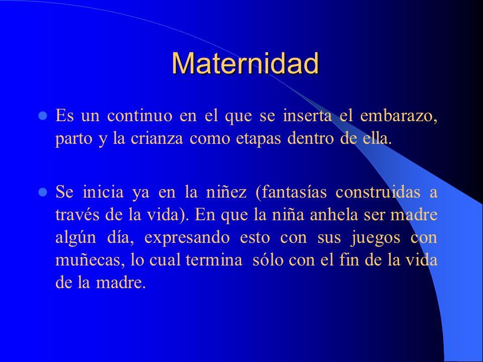 Maternidad Maternidad Es un continuo en el que se inserta el embarazo, parto y la crianza como etapas dentro de ella. Se inicia ya en la niñez (fantas