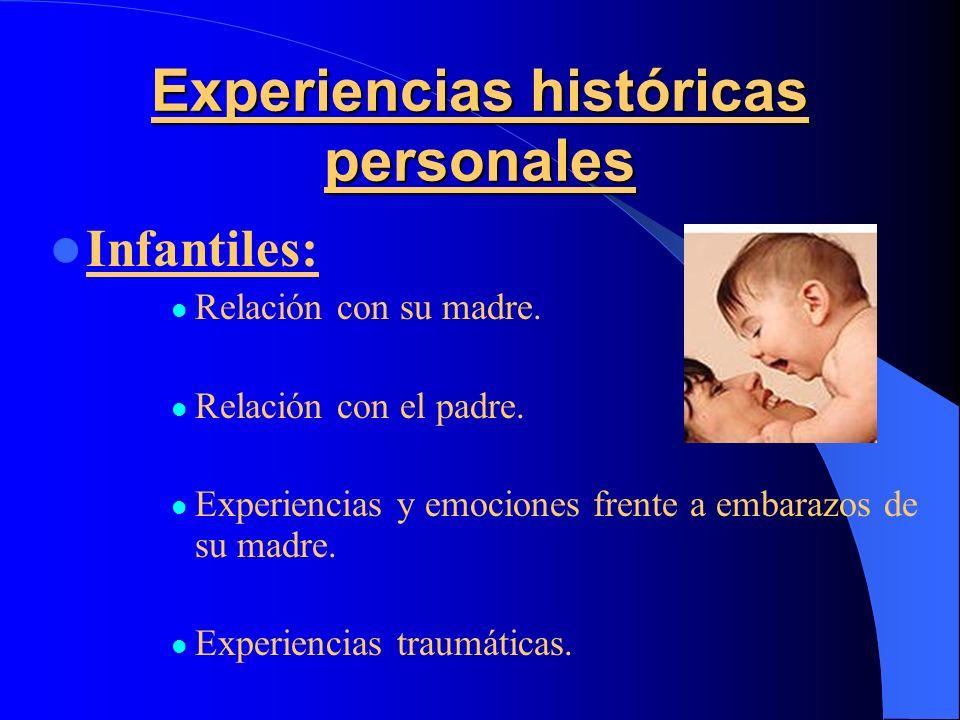 Experiencias históricas personales Infantiles: Relación con su madre. Relación con el padre. Experiencias y emociones frente a embarazos de su madre.