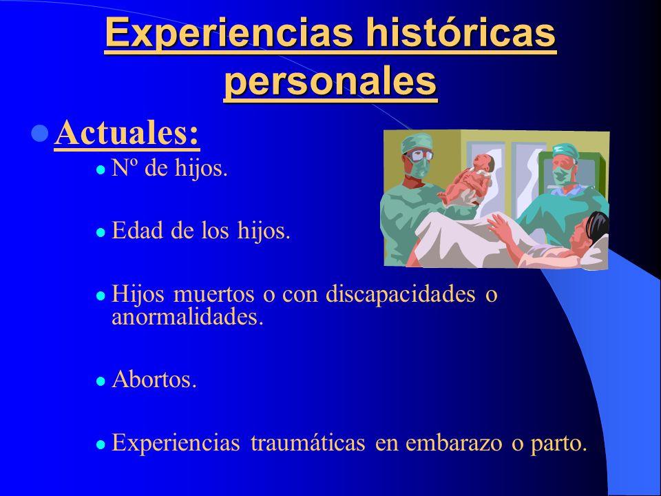 Experiencias históricas personales Actuales: Nº de hijos. Edad de los hijos. Hijos muertos o con discapacidades o anormalidades. Abortos. Experiencias