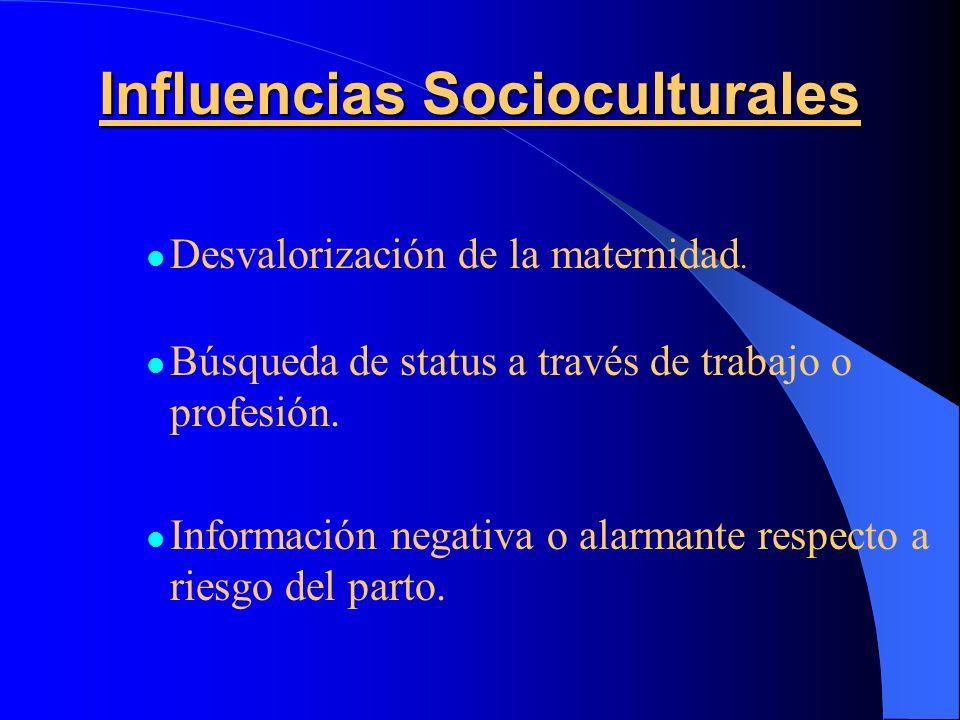 Influencias Socioculturales Desvalorización de la maternidad. Búsqueda de status a través de trabajo o profesión. Información negativa o alarmante res