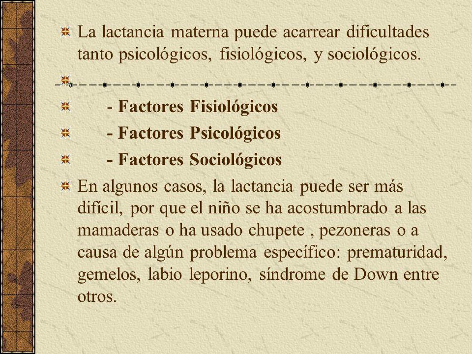 La lactancia materna puede acarrear dificultades tanto psicológicos, fisiológicos, y sociológicos. - Factores Fisiológicos - Factores Psicológicos - F