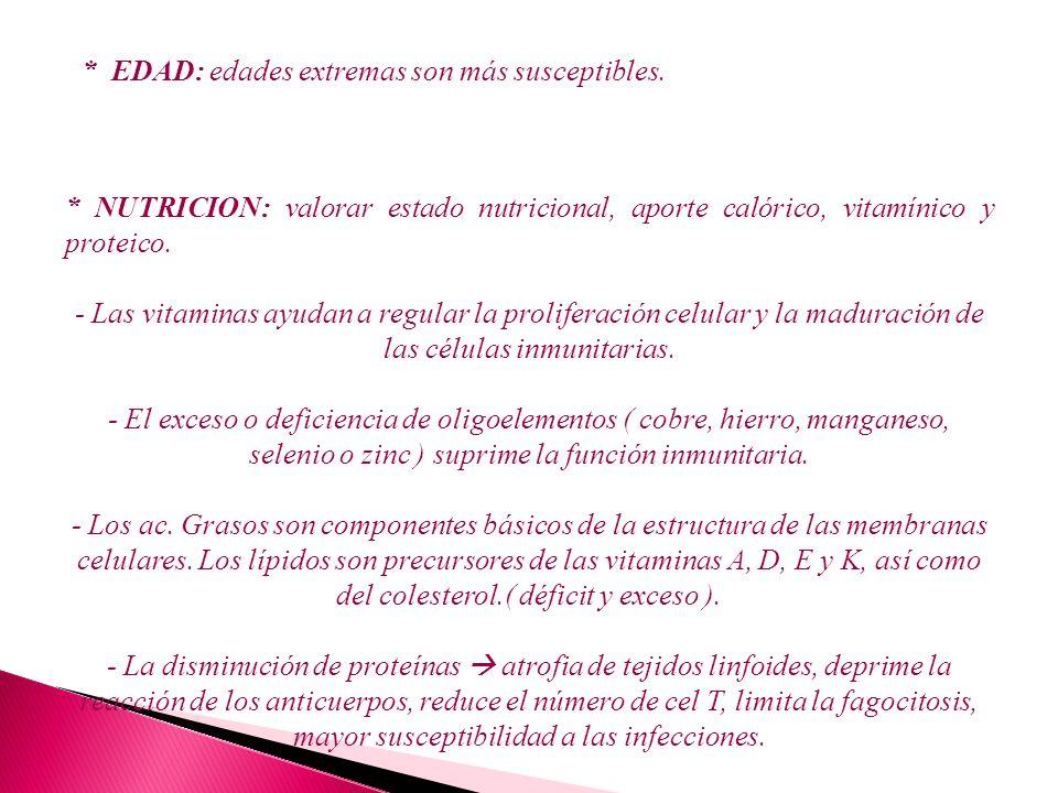 * NUTRICION: valorar estado nutricional, aporte calórico, vitamínico y proteico. - Las vitaminas ayudan a regular la proliferación celular y la madura