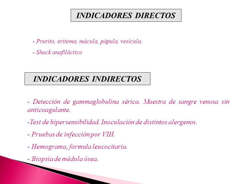 INDICADORES DIRECTOS - Prurito, eritema, mácula, pápula, vesícula. - Shock anafiláctico INDICADORES INDIRECTOS - Detección de gammaglobulina sérica. M