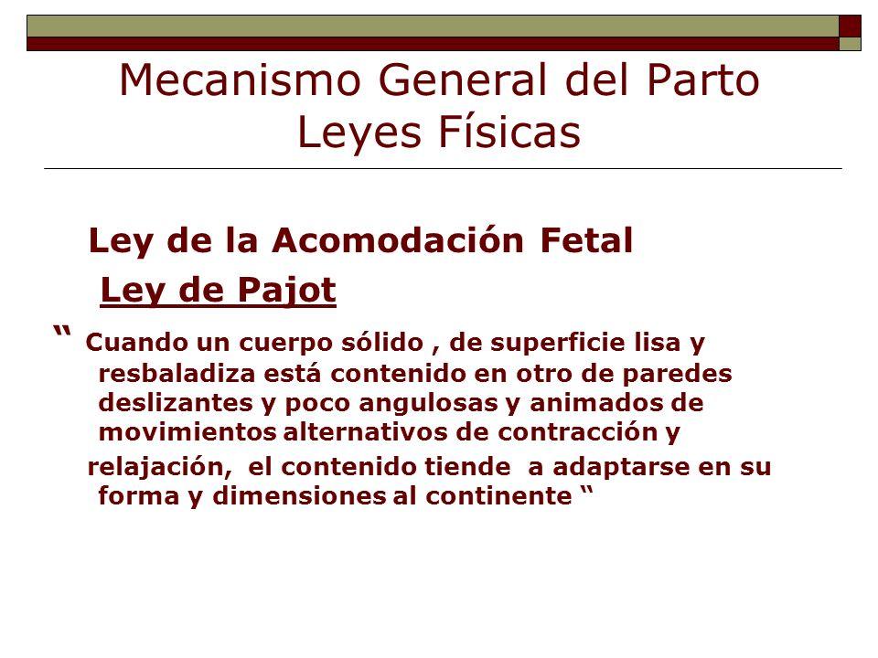 Mecanismo General del Parto Leyes Físicas Ley de la Acomodación Fetal Ley de Pajot Cuando un cuerpo sólido, de superficie lisa y resbaladiza está cont