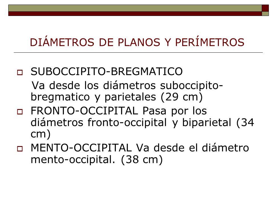DIÁMETROS DE PLANOS Y PERÍMETROS SUBOCCIPITO-BREGMATICO Va desde los diámetros suboccipito- bregmatico y parietales (29 cm) FRONTO-OCCIPITAL Pasa por