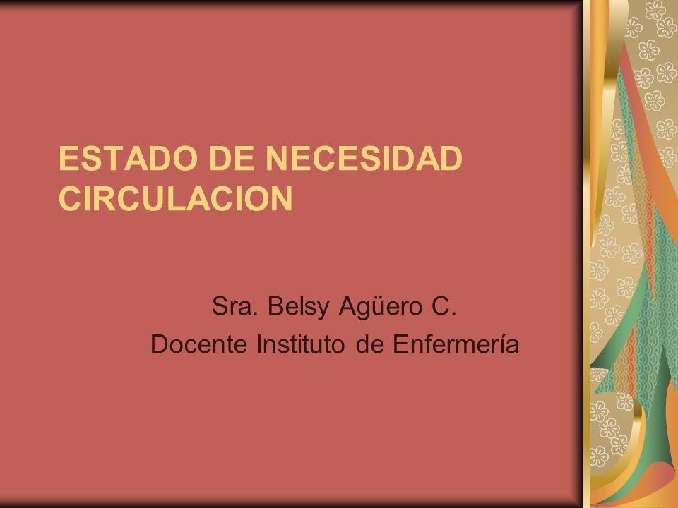 ESTADO DE NECESIDAD CIRCULACION Sra. Belsy Agüero C. Docente Instituto de Enfermería