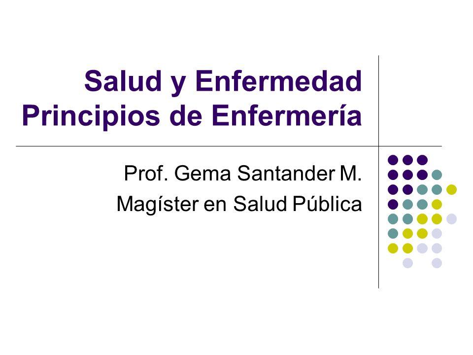 Salud y Enfermedad Principios de Enfermería Prof. Gema Santander M. Magíster en Salud Pública