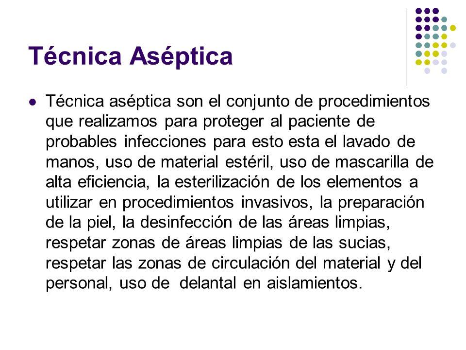 Técnica Aséptica Técnica aséptica son el conjunto de procedimientos que realizamos para proteger al paciente de probables infecciones para esto esta e