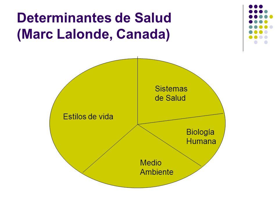 Determinantes de Salud (Marc Lalonde, Canada) Biología Humana Sistemas de Salud Estilos de vida Medio Ambiente
