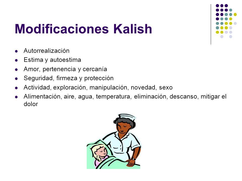 Modificaciones Kalish Autorrealización Estima y autoestima Amor, pertenencia y cercanía Seguridad, firmeza y protección Actividad, exploración, manipu