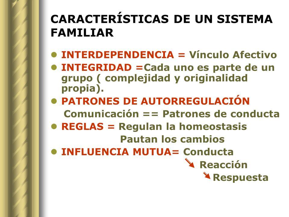 CARACTERÍSTICAS DE UN SISTEMA FAMILIAR INTERDEPENDENCIA = Vínculo Afectivo INTEGRIDAD =Cada uno es parte de un grupo ( complejidad y originalidad prop
