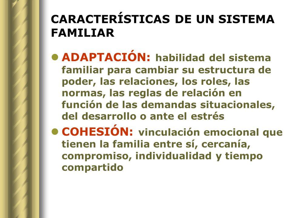CARACTERÍSTICAS DE UN SISTEMA FAMILIAR ADAPTACIÓN: habilidad del sistema familiar para cambiar su estructura de poder, las relaciones, los roles, las