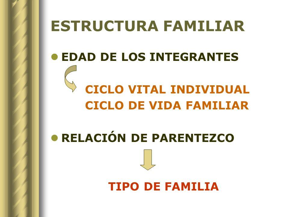 ESTRUCTURA FAMILIAR EDAD DE LOS INTEGRANTES CICLO VITAL INDIVIDUAL CICLO DE VIDA FAMILIAR RELACIÓN DE PARENTEZCO TIPO DE FAMILIA