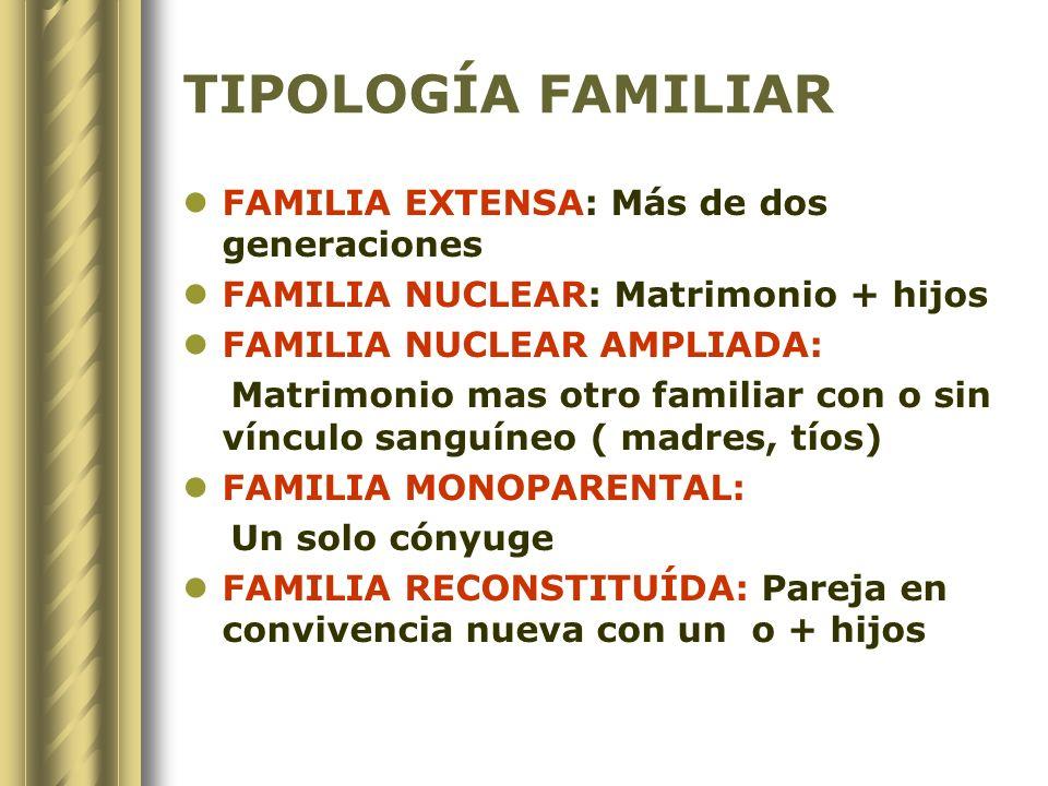 TIPOLOGÍA FAMILIAR FAMILIA EXTENSA: Más de dos generaciones FAMILIA NUCLEAR: Matrimonio + hijos FAMILIA NUCLEAR AMPLIADA: Matrimonio mas otro familiar