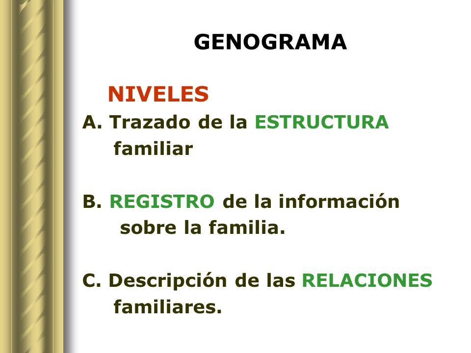 GENOGRAMA NIVELES A. Trazado de la ESTRUCTURA familiar B. REGISTRO de la información sobre la familia. C. Descripción de las RELACIONES familiares.