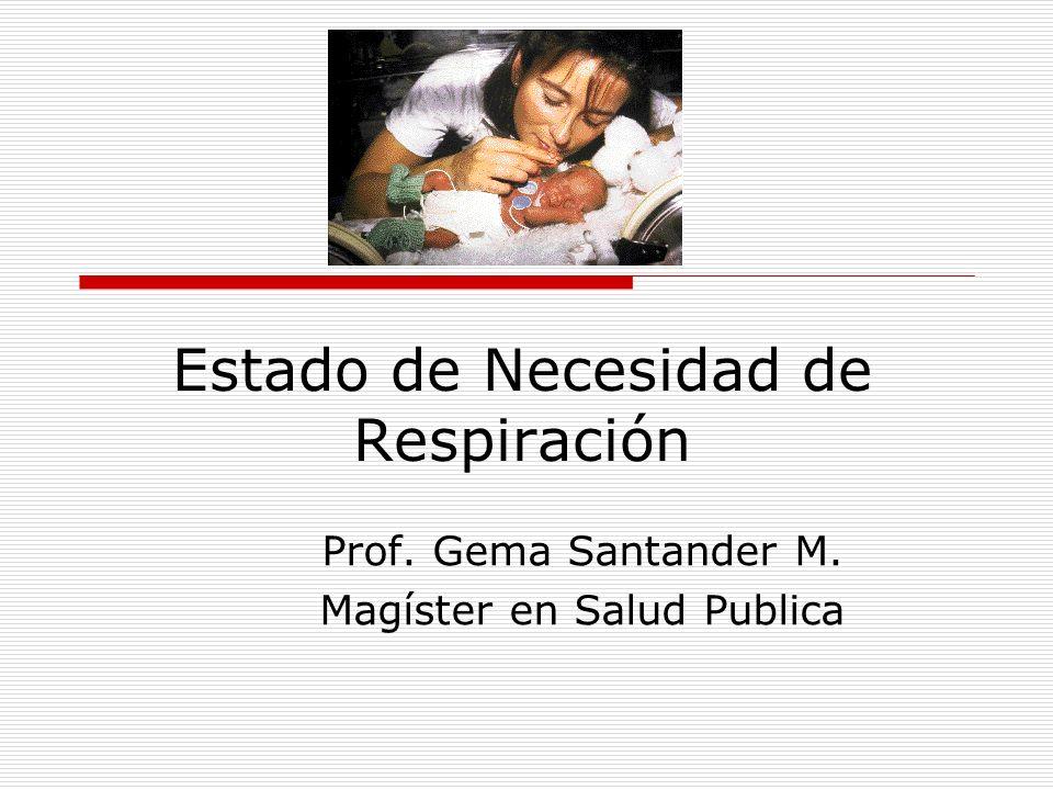 Estado de Necesidad de Respiración Prof. Gema Santander M. Magíster en Salud Publica