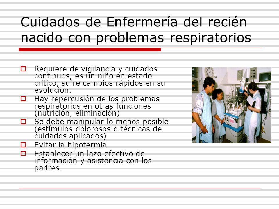 Cuidados de Enfermería del recién nacido con problemas respiratorios Requiere de vigilancia y cuidados continuos, es un niño en estado crítico, sufre