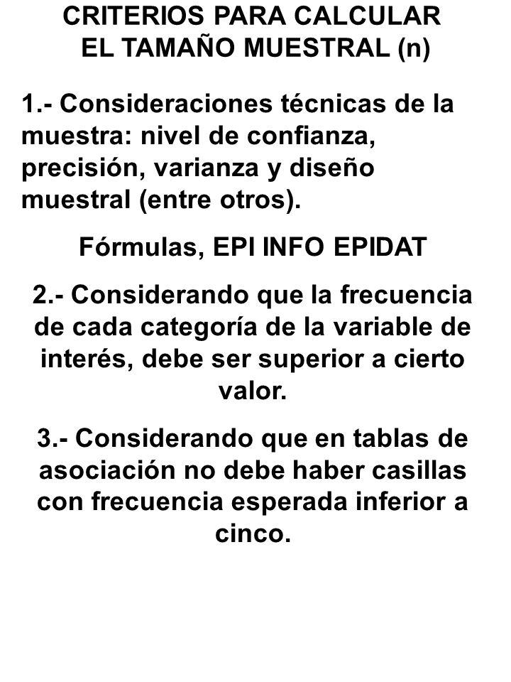 CRITERIOS PARA CALCULAR EL TAMAÑO MUESTRAL (n) 1.- Consideraciones técnicas de la muestra: nivel de confianza, precisión, varianza y diseño muestral (entre otros).