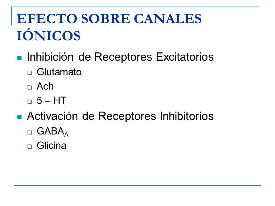 EFECTO SOBRE CANALES IÓNICOS Inhibición de Receptores Excitatorios Glutamato Ach 5 – HT Activación de Receptores Inhibitorios GABA A Glicina