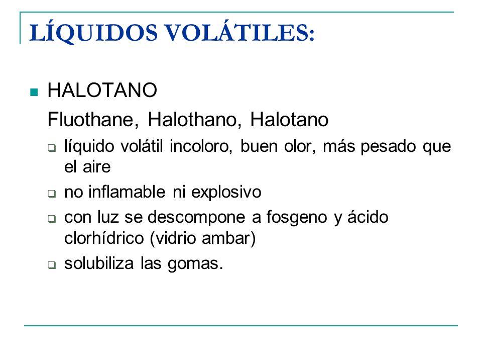 LÍQUIDOS VOLÁTILES: HALOTANO Fluothane, Halothano, Halotano líquido volátil incoloro, buen olor, más pesado que el aire no inflamable ni explosivo con
