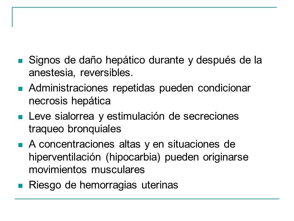 Signos de daño hepático durante y después de la anestesia, reversibles. Administraciones repetidas pueden condicionar necrosis hepática Leve sialorrea