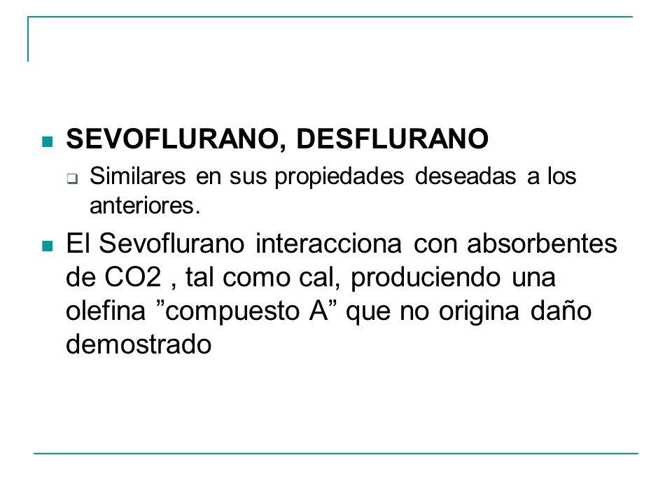 SEVOFLURANO, DESFLURANO Similares en sus propiedades deseadas a los anteriores. El Sevoflurano interacciona con absorbentes de CO2, tal como cal, prod