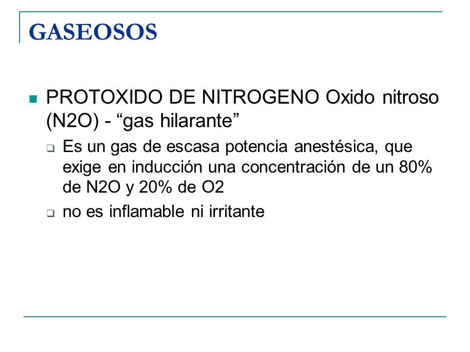 GASEOSOS PROTOXIDO DE NITROGENO Oxido nitroso (N2O) - gas hilarante Es un gas de escasa potencia anestésica, que exige en inducción una concentración