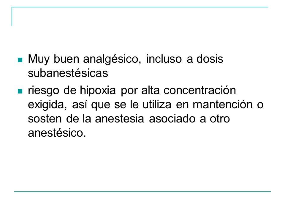 Muy buen analgésico, incluso a dosis subanestésicas riesgo de hipoxia por alta concentración exigida, así que se le utiliza en mantención o sosten de
