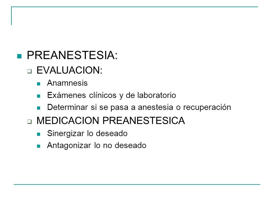 PREANESTESIA: EVALUACION: Anamnesis Exámenes clínicos y de laboratorio Determinar si se pasa a anestesia o recuperación MEDICACION PREANESTESICA Siner