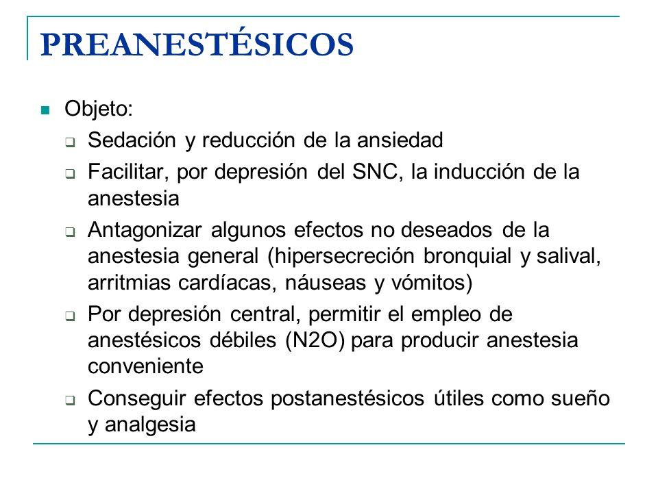 Suelen asociarse: Anticolinérgicos (atropina, escopolamina), hoy se utilizan menos ya que los nuevos AG no producen tanta secreciones como el éter Sedantes: prometazina, diazepam, midazolam Analgésicos: utilizados en la medicación preanestésica y en período postoperatorio, para evitar el dolor al despertar de la anestesia: morfina, petidina (dolantina)