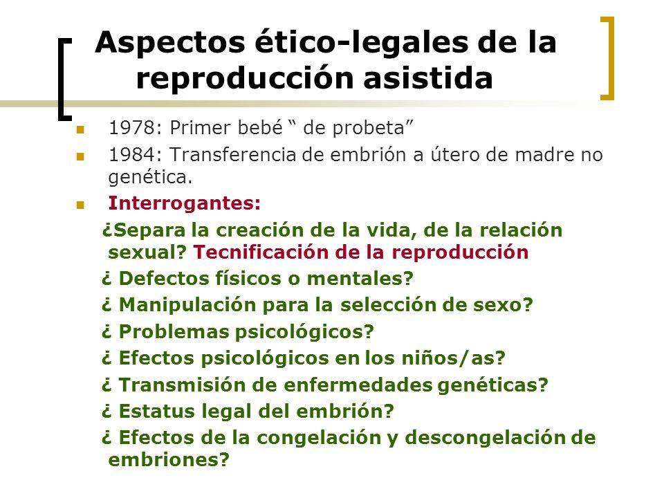 Aspectos ético-legales de la reproducción asistida 1978: Primer bebé de probeta 1984: Transferencia de embrión a útero de madre no genética. Interroga