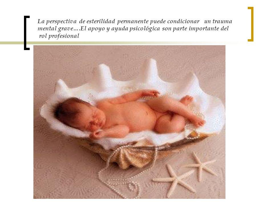 La perspectiva de esterilidad permanente puede condicionar un trauma mental grave….El apoyo y ayuda psicológica son parte importante del rol profesion
