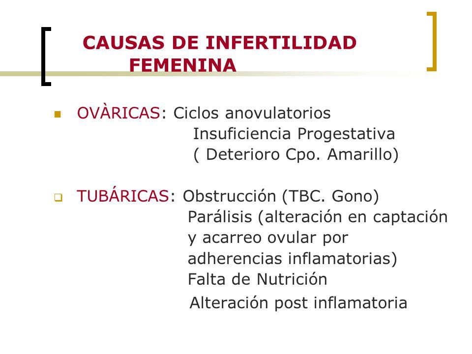 CAUSAS DE INFERTILIDAD FEMENINA OVÀRICAS: Ciclos anovulatorios Insuficiencia Progestativa ( Deterioro Cpo. Amarillo) TUBÁRICAS: Obstrucción (TBC. Gono