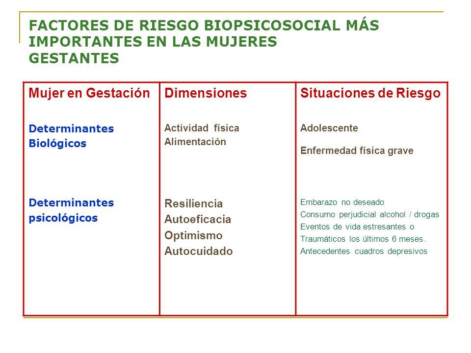 FACTORES DE RIESGO BIOPSICOSOCIAL MÁS IMPORTANTES EN LAS MUJERES GESTANTES Mujer en Gestación Determinantes Biológicos Determinantes psicológicos Dime