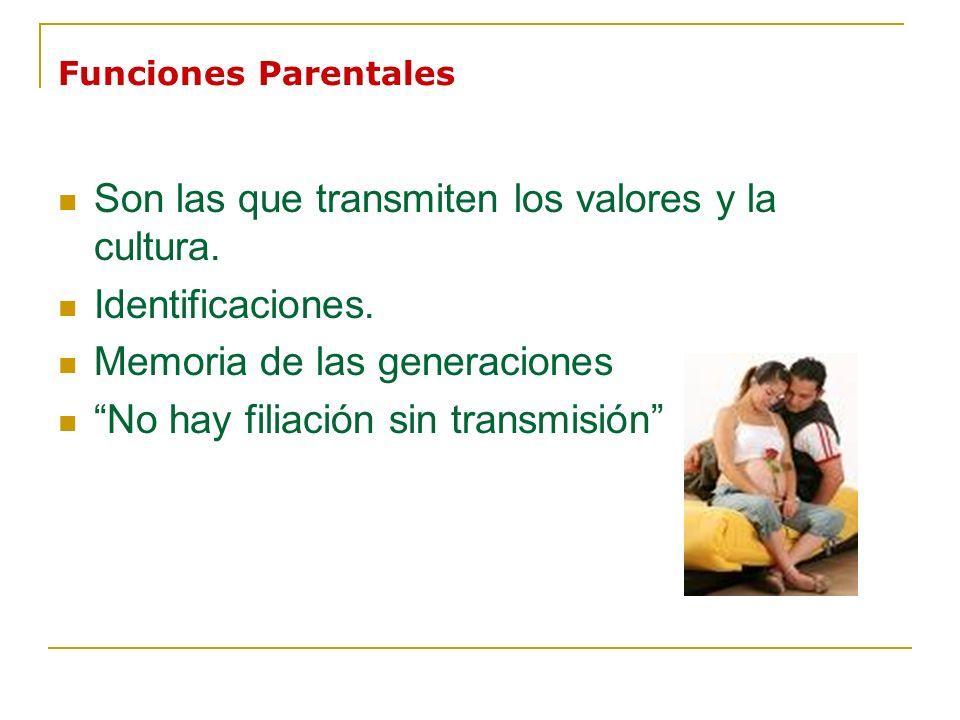 Funciones Parentales Son las que transmiten los valores y la cultura. Identificaciones. Memoria de las generaciones No hay filiación sin transmisión