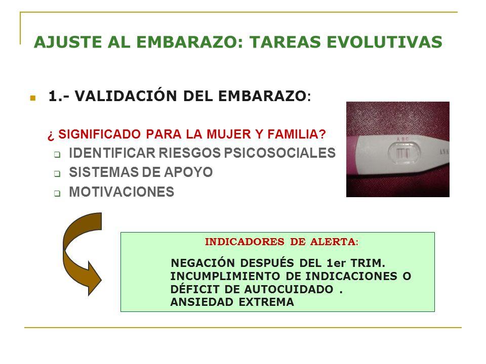 AJUSTE AL EMBARAZO: TAREAS EVOLUTIVAS 1.- VALIDACIÓN DEL EMBARAZO : ¿ SIGNIFICADO PARA LA MUJER Y FAMILIA? IDENTIFICAR RIESGOS PSICOSOCIALES SISTEMAS