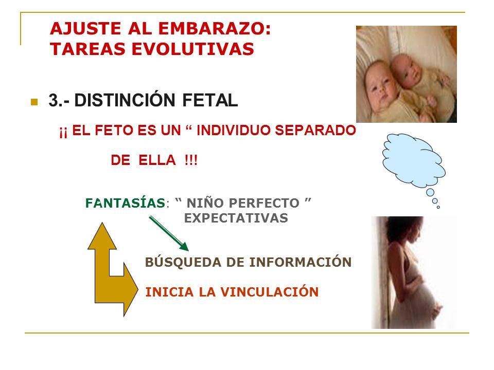 AJUSTE AL EMBARAZO: TAREAS EVOLUTIVAS 3.- DISTINCIÓN FETAL ¡¡ EL FETO ES UN INDIVIDUO SEPARADO DE ELLA !!! FANTASÍAS: NIÑO PERFECTO EXPECTATIVAS BÚSQU