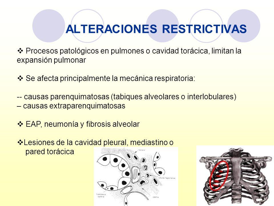 ALTERACIONES RESTRICTIVAS Procesos patológicos en pulmones o cavidad torácica, limitan la expansión pulmonar Se afecta principalmente la mecánica resp