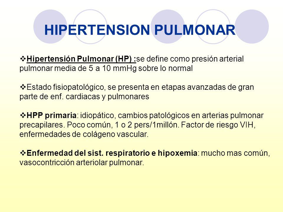 HIPERTENSION PULMONAR Hipertensión Pulmonar (HP) :se define como presión arterial pulmonar media de 5 a 10 mmHg sobre lo normal Estado fisiopatológico