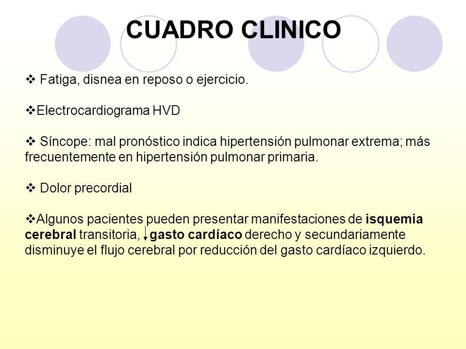 CUADRO CLINICO Fatiga, disnea en reposo o ejercicio. Electrocardiograma HVD Síncope: mal pronóstico indica hipertensión pulmonar extrema; más frecuent